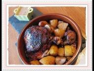 Recette cuisse de dinde sauce maya, topinambours et pommes de terre