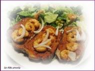 Recette tartines sauce à la tomate et crevettes
