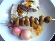 Recette rôti de porc farci aux légumes de printemps