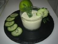 Recette gaspacho concombres, pommes granny aux graines de moutarde