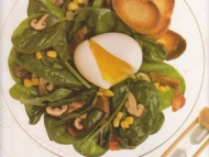 Recette salade de jeunes pousses d'épinard et champignons shiitake