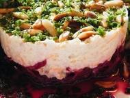 Recette betterave rouge crue, rosettes de mâche, mousse de thon
