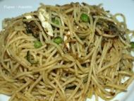 Recette spaghettis au chèvrettines, courgettes et poireaux.