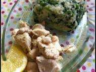 Recette poulet au thym et au citron, riz pilaf aux epinards et aux petits pois
