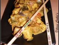 Recette wok de ratatouille et poulet à la moutarde et au curry