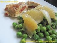 Recette fricassée de petits pois pamplemousse gingembre, poulet au chorizo