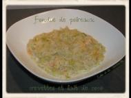 Recette fondue de poireaux aux crevettes et lait de coco