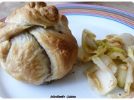 Recette feuilleté de pomme et roquefort sur salade d'endives