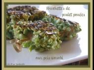 Recette brochettes de poulet panées aux pois wasabi et leurs nigiri au poivron grillé