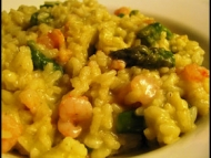 Recette risotto aux crevettes et asperges vertes