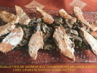 Recette aiguillettes de saumon aux champignons au 4 épices