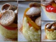Recette boudin blanc truffé sur un lit de pommes de terre et de poivrons
