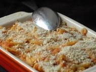 Recette gratin de pâtes au potiron, chorizo et champignons