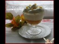 Recette crème de potiron à la banane sur lit de crème anglaise et son nuage de chantilly