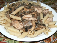 Recette poulet, champignons et pâtes complètes