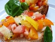 Recette bruschetta trois tomates et basilic