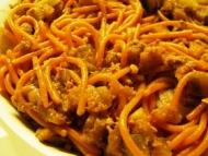 Recette spaghettis quinoa tomate à l'aubergine et au thon