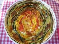 Recette tarte aux serpentins de légumes (courgettes poivrons tomates)